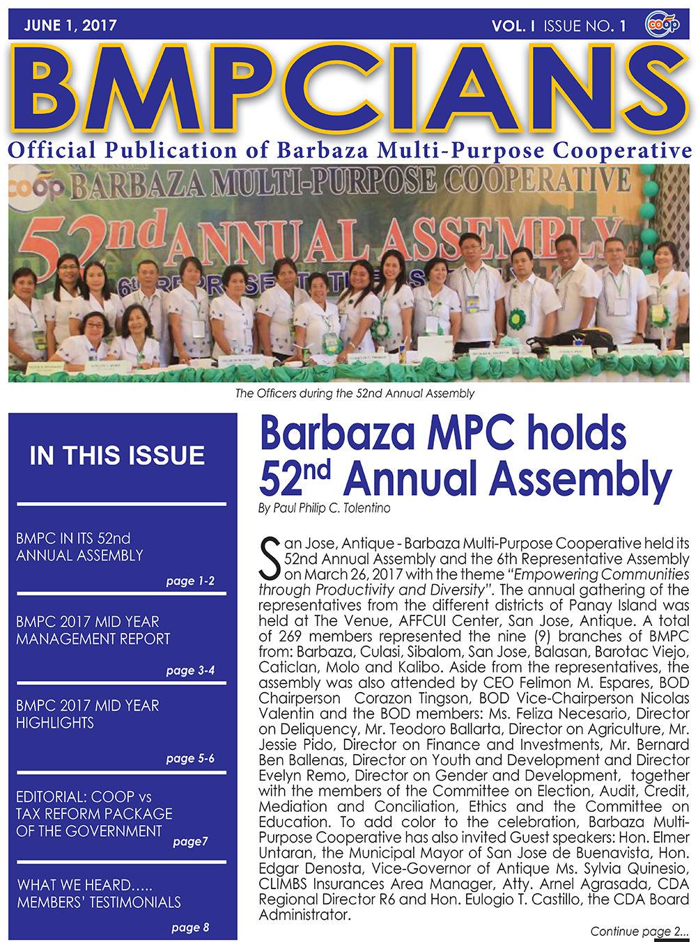 BMPCIANS VOLUME 1 ISSUE NO. 1