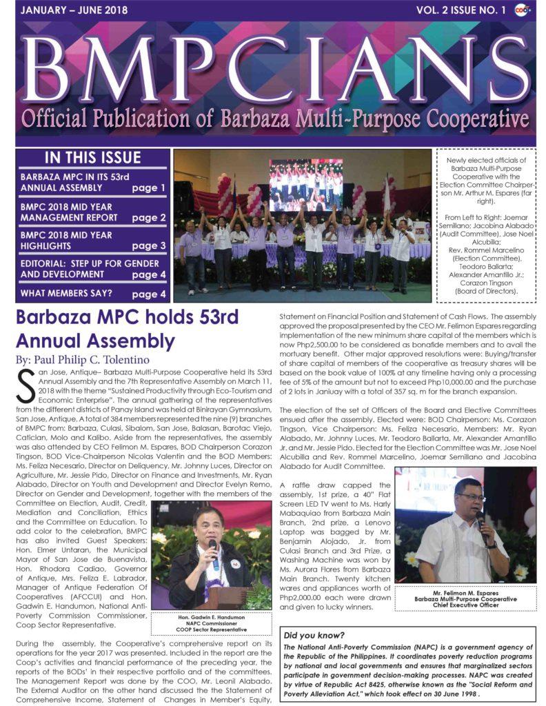 BMPCIANS VOL. 2 ISSUE NO. 1